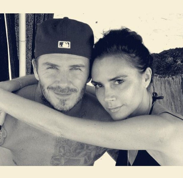 David Beckham and wife Victoria Beckham in a Twitter picture, 17 May 2013