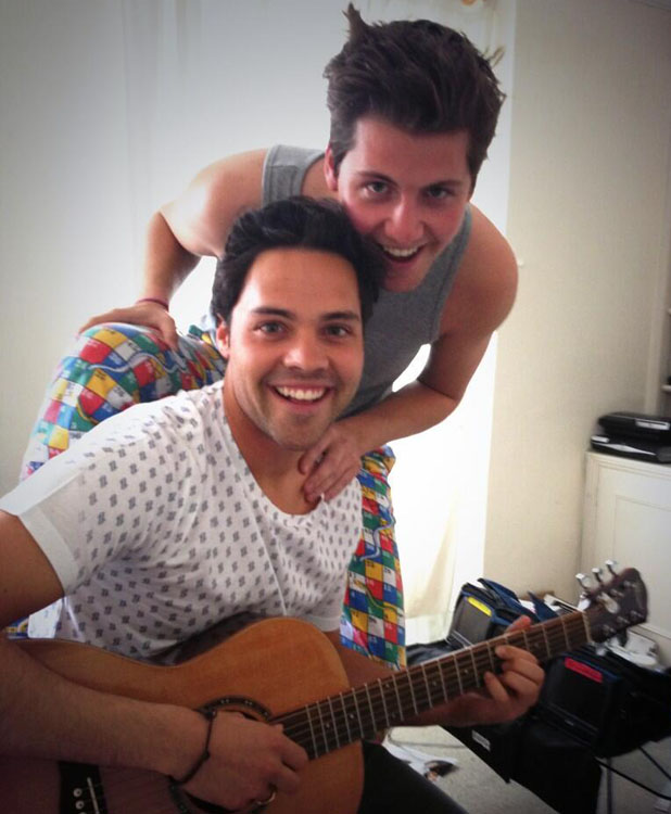 Stevie Johnson, Andy Jordan from Made In Chelsea strum a guitar on set - May 14