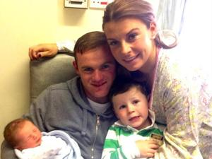 Coleen Rooney with Wayne, Kai and new baby son Klay - 21 May 2013