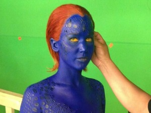 Jennifer Lawrence shows off physique in blue bodypaint for X-Men sequel