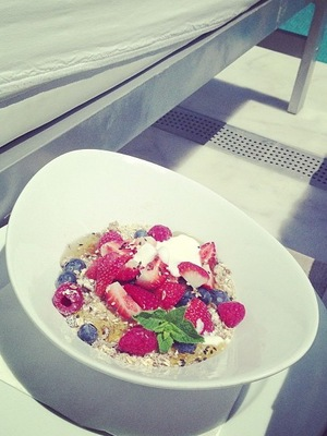 Lucy Watson's healthy snack on Gorgeous Couture shoot in Ibiza