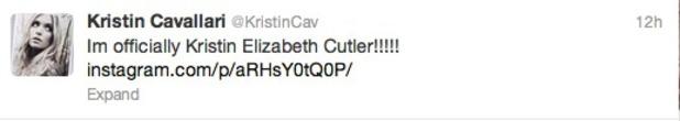 Kristin Cavallari announced marriage on Twitter, June 7 2013