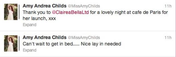 Amy Childs tweets about her Saturday night at Café de Paris, June 8 2013