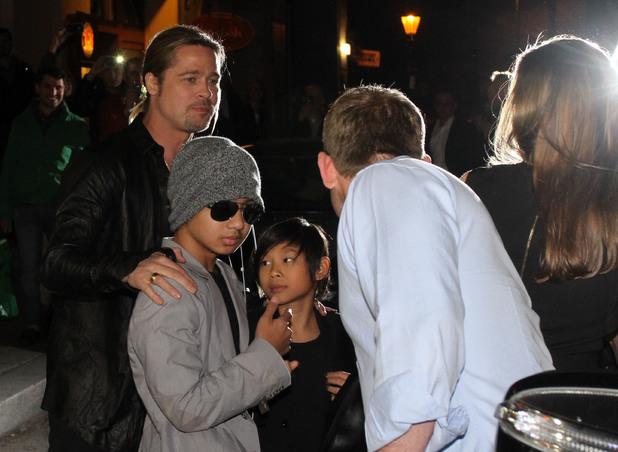 Brad Pitt, Angelina Jolie and their kids celebrating her 38th birthday at Kuchi restaurant in Mitte - June 4 2013