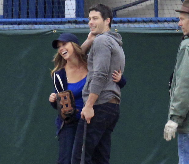 Jennifer Love Hewitt & Brian Hallisay on Client List set, 2013