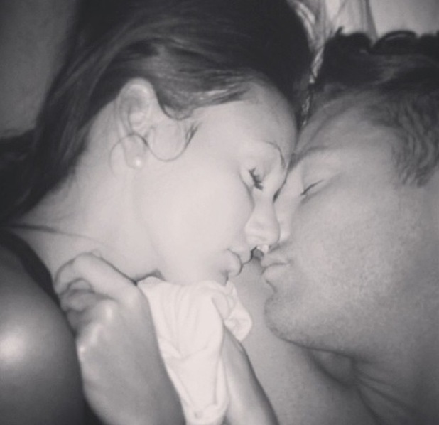 Michelle Keegan and Mark Wright cuddle up together in bed - 7 June 2013