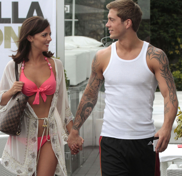 Lucy Mecklenburgh and Dan Osborne holding hands  in Marbella, 28th May 2013. REVEAL USE ONLY.