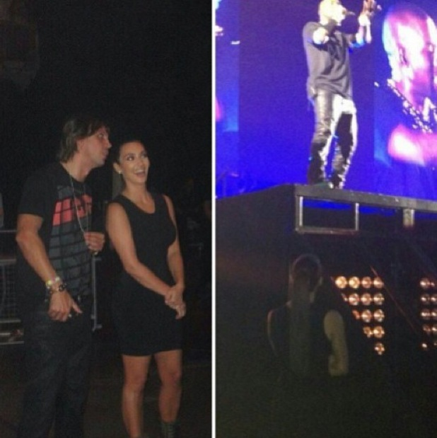 Kim Kardashian watches Kanye West perform in London as part of Watch The Throne