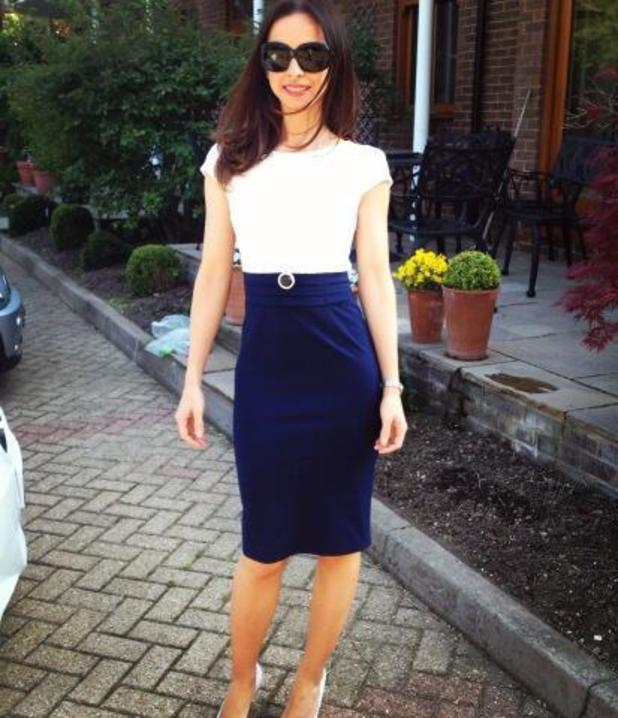 Lindsay Armaou poses in a dress from Jessica Wright's collection - 7 June 2013