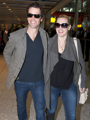 Kate Winslet and boyfriend Ned Rocknroll at Heathrow Airport, London, Britain - 17 Jan 2012