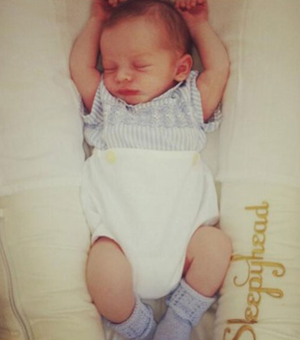 Coleen Rooney shares a photo of 2-week-old son Klay, 4 June 2013