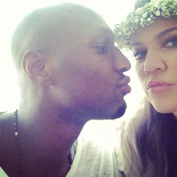 Khloe Kardashian and Lamar Odom at Kim's baby shower, 2 June 2013