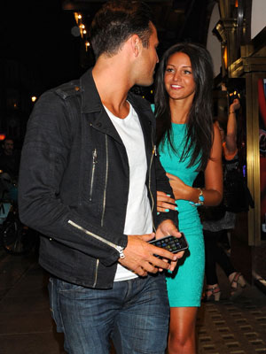 Michelle Keegan celebrates her birthday with Mark Wright as they leave the Jersey Boys musical at the Prince Edward Theatre in Soho and ride in a rickshaw to Nobu Berkeley, 4 June 2013