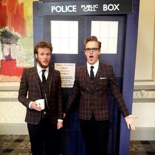 McFly's Tom Fletcher and Dougie Poynter posing outside Dr Who's Tardis