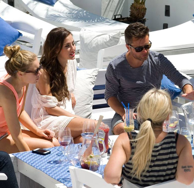 Lucy Watson having lunch on Gorgeous Couture campaign shoot in Ibiza