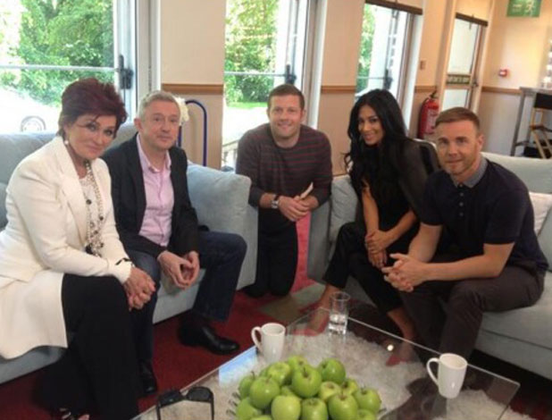 Dermot O'Leary shares a picture of himself and X Factor judges Louis Walsh, Gary Barlow, Nicole Scherzinger and Sharon Osbourne, Glasgow, 4 June 2013