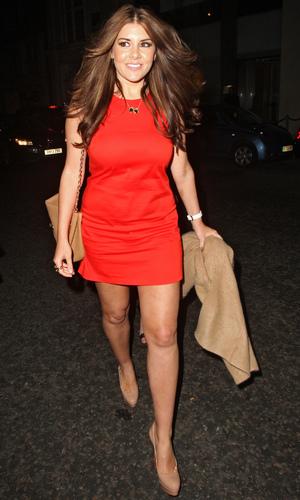Imogen Thomas leaving Nobu Berkley in a short red dress - 14 June 2013
