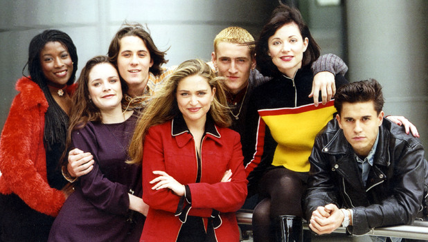 Television Programme Hollyoaks Picture Shows (l-r) Yasmin Bannerman Brett O'brien Nick Pickard Shebah Ronay Will Mellor Lisa Williamson And Jeremy Edwards. 1995