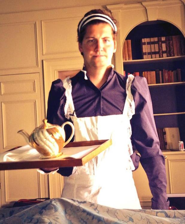 Stevie Johnson from Made In Chelsea dresses as maid, serves tea to Spencer Matthews - 10 June