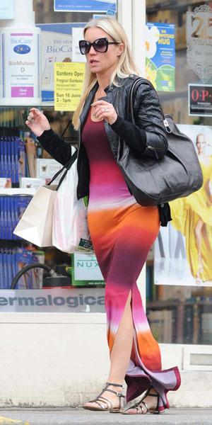Denise Van Outen wears side split maxi dress in Hampstead on 11 June 2013