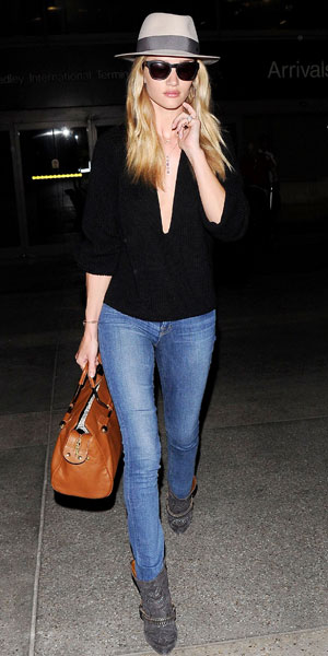 Rosei Huntington-Whiteley wearing Isabel Marant boots at LAX