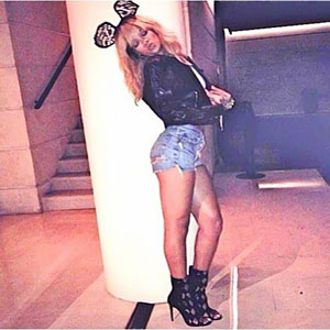 Rihanna wears lace bunny ears and hotpants in Paris