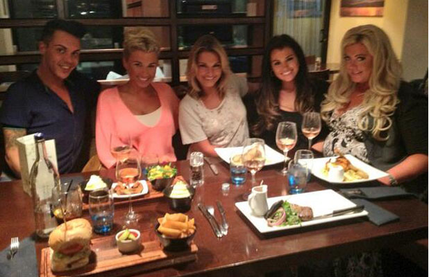 TOWIE's Sam Faiers, Billie Faiers, Jessica Wright, Gemma Collins and Bobby Norris out for dinner in Essex