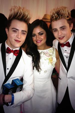 Jedward pose with Lucy Hale at MuchMusic Video Awards - 16 June 2013