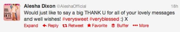 Pregnant Alesha Dixon thanks fans for congratulations on Twitter, June 21 2013