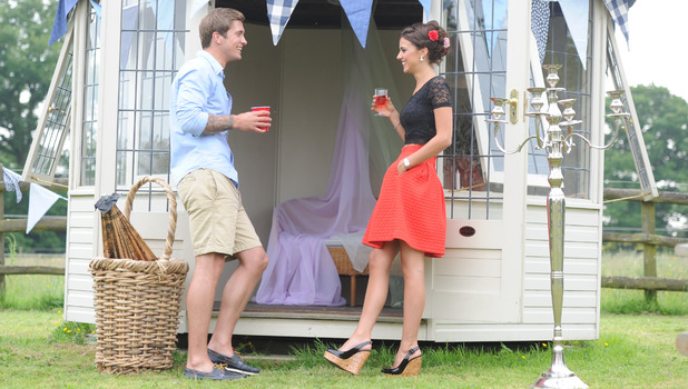 Lucy Mecklenburgh and Dan Osborne on the set of TOWIE, June 21 2013
