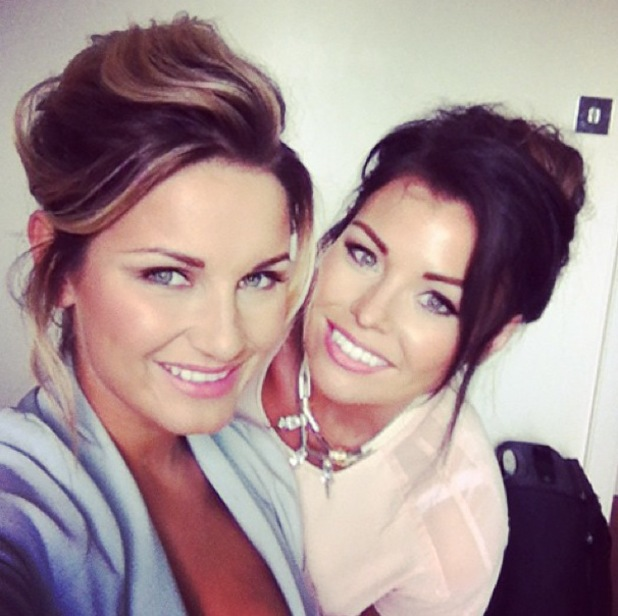 Jessica Wright and Sam Faiers pictured smiling after Ricky Rayment cheating admission - 21 June 2013
