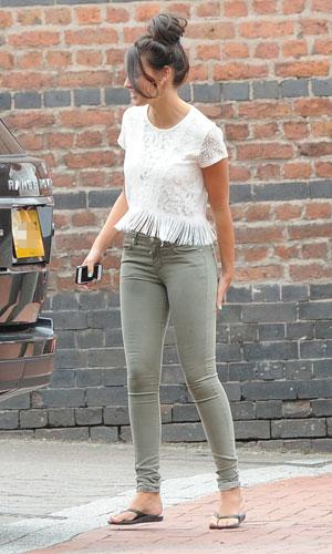 Michelle Keegan seen leaving the Coronation Street studios in a black Range Rover sports, 17 June 2013