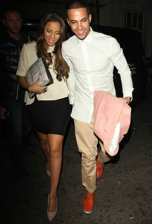 Marvin Humes and Rochelle Wiseman holding hands as they arrivie at DSTRKT night club, 18 June 2013