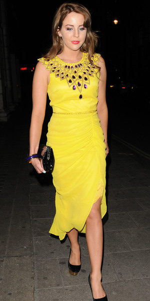 Lydia Bright in yellow dress at Novikov restaurant in Mayfair, June 29 2013