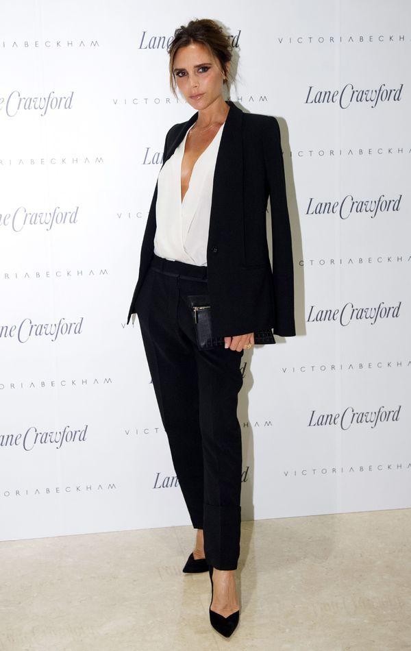 Beckham White Suit Victoria Beckham Wears a White