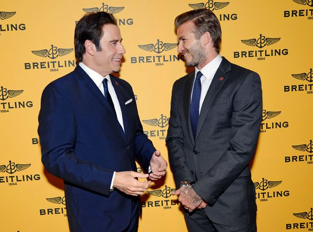 Breitling flagship store launch, Bond Street, London, Britain - 27 Jun 2013 John Travolta and David Beckham