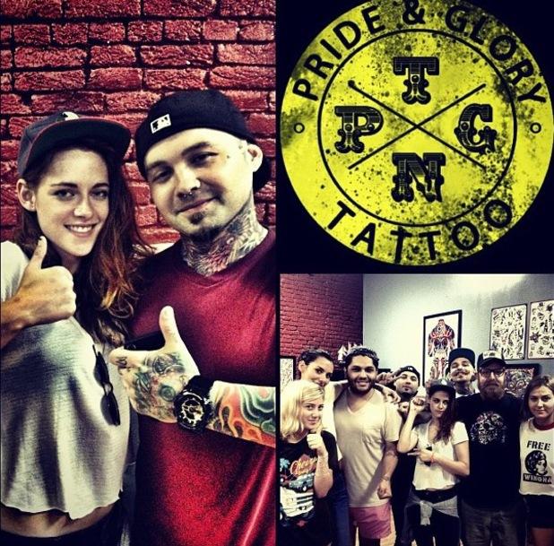 Kristen Stewart pictured getting her first tattoo in Nashville at Pride & Glory tattoo parlour - 22 June 2013