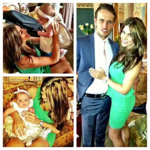 Imogen Thomas, Adam Horsley and daughter Ariana Siena at wedding - 24 June 2013