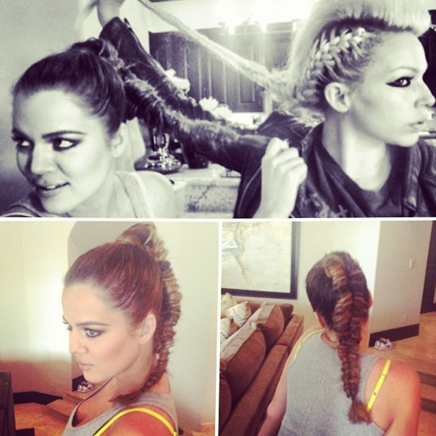 Khloe Kardashian fishtail braids Instagram pic