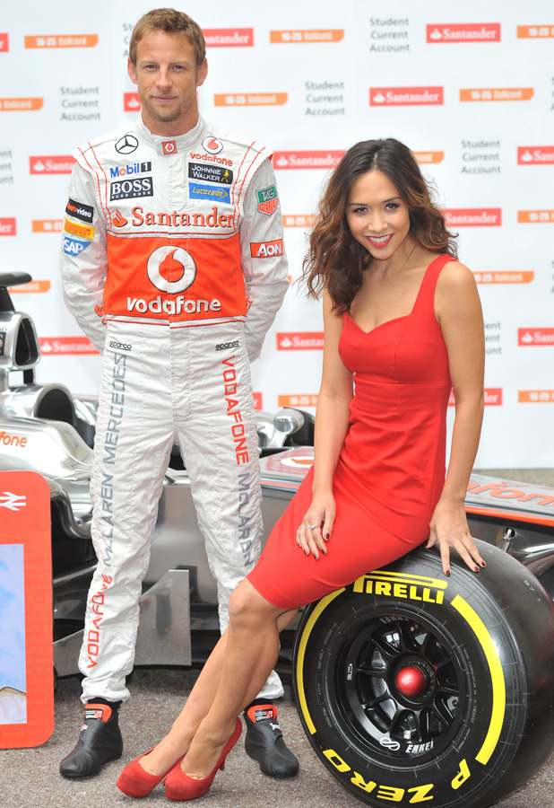 Myleene Klass and Jenson Button pose for pictures with a McClaren car to promote the car manufacturer's sponsorship with Santander - photocall held at the British Medical Association