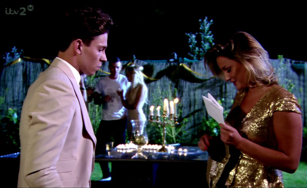 Sam Faiers talking to Joey Essex about their relationship and hands him a letter. TOWIE.