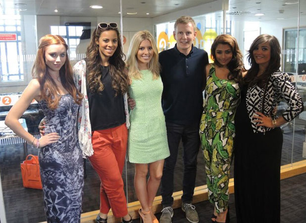Saturdays pose with Patrick Kielty at the BBC Radio 2 studios, 27 June 2013