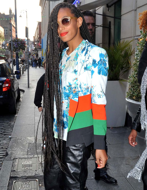Solange Knowles(younger sister of Beyonce ) who celebrates her birthday today, seen leaving the Morgan Hotel with her hair in braids down past her waist.Solange was in Ireland to preform at the Body & Soul Festival. 24June 2013
