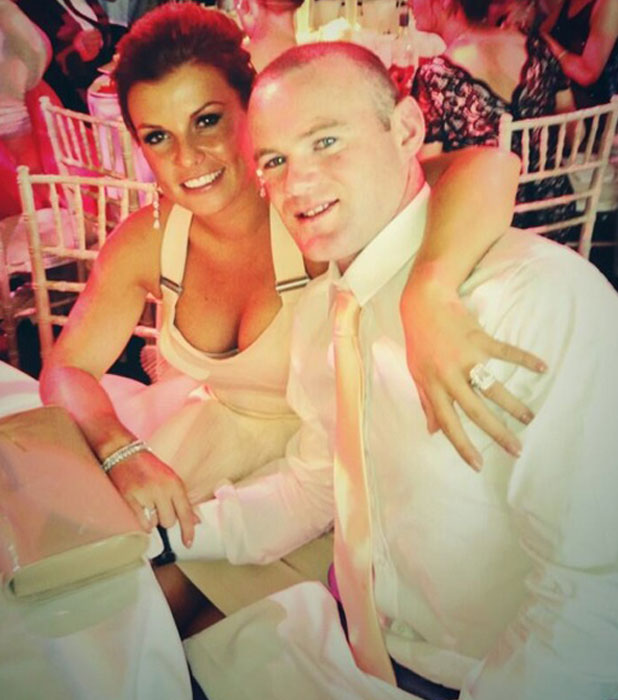 Coleen Rooney and Wayne at a friend's wedding, June 2013