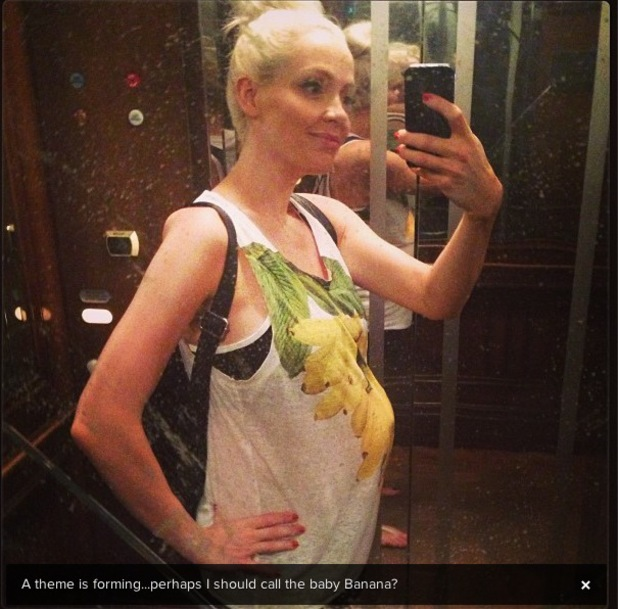 Cherry Healey shows off baby bump in banana print top - 2 July 2013