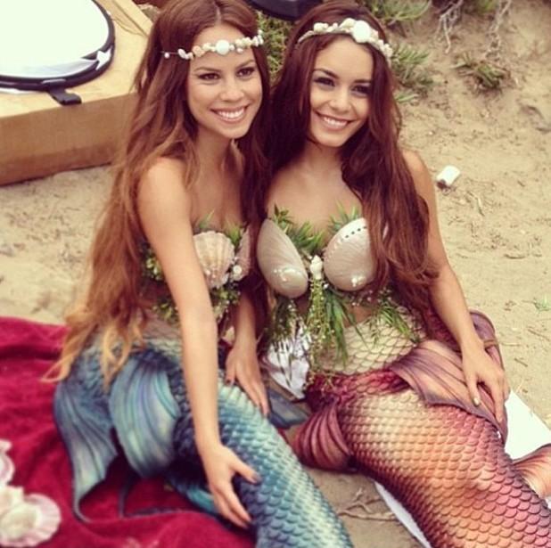 Vanessa Hudgens dresses as mermaid with Kim Hidalgo - July 2013