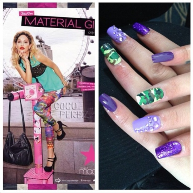 Rita Ora's nails as done by Rebecca Jade Wilson for Material Girl campaign, 3 July 2013