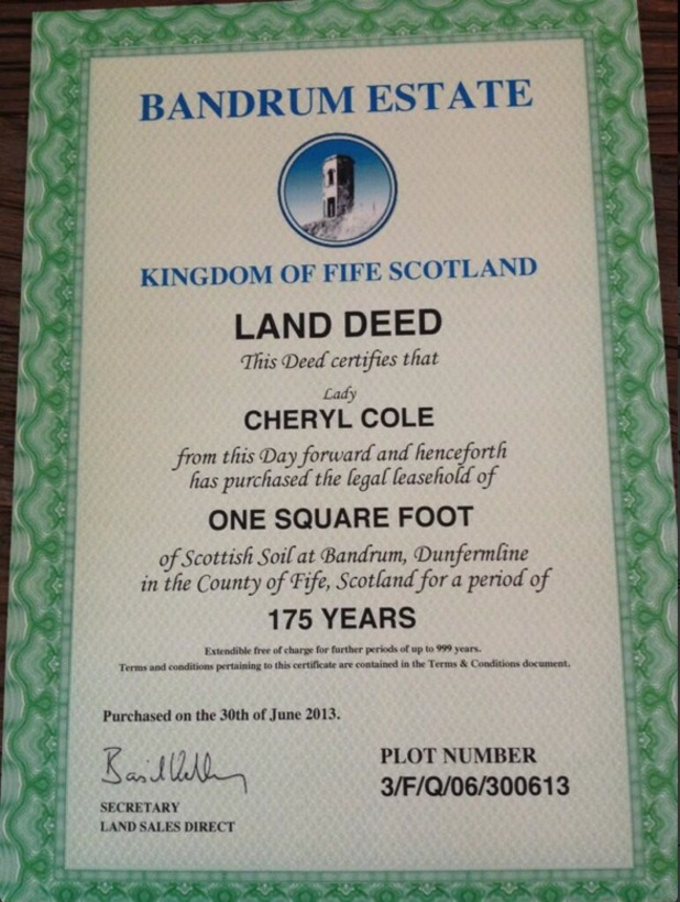 Cheryl Cole given land deed and Lady title by Simon Cowell for her 30th birthday - 3 July 2013