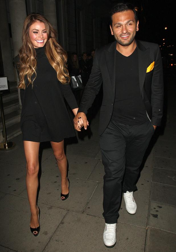 Chloe Sims leaving Cova with her boyfriend, 4 July 2013