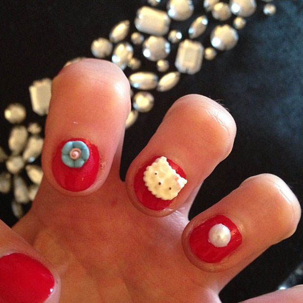 Helen Flanagan tweets a picture of her cat manicure, June 2013